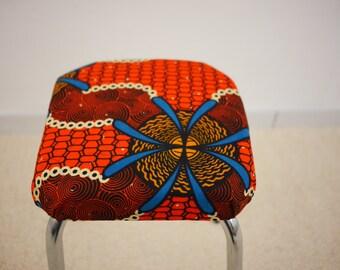 Fabric ethnic stool African wax / refurbished vintage stool