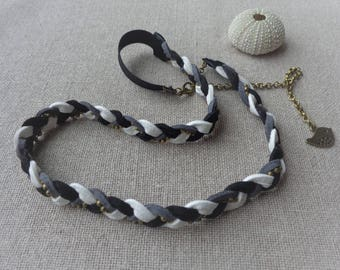 Adjustable chunky headband white gray black suede and bronze chain - ninette barrettes