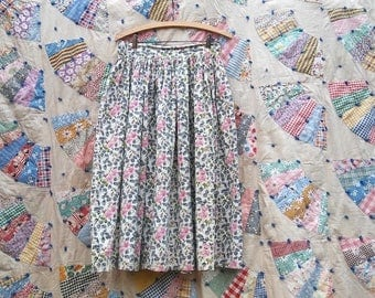 1950s grey + pink + green floral white cotton gathered full skirt // medium