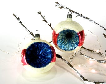 VINTAGE: 2 Early Poland Indent Mercury Glass Ornaments - Christmas Ornament - SKU Tub-403-00008605