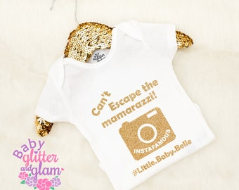Can't Escape the Mamarazzi Bodysuit, Trendy Baby Girl Trendy Baby Boy Personalized Shirt, Baby Instagram Camera