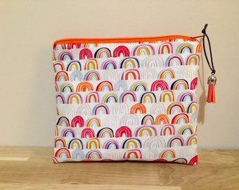 Pouch / bag fabric bow in orange and blue sky