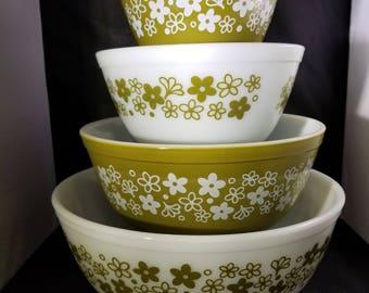 Complete Set of 4 Pyrex  Nesting Bowls Pattern Spring Blossum.  Avocado Pyrex Mixing Bowls