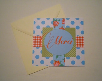 """Thank you"" card four patterns with envelope"