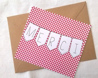 """Thank you"" card red and white checkered"