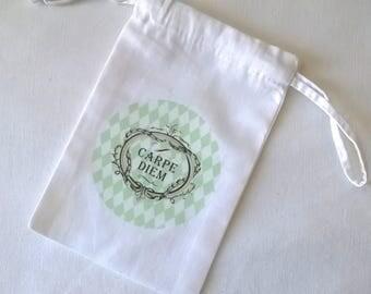 """Small fabric bag, """"carpe diem"""" Mint green diamonds"""