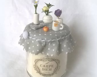 """Carpe Diem"" deco gray simple and sweet candle"