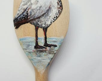 Seagull painted wooden spoon