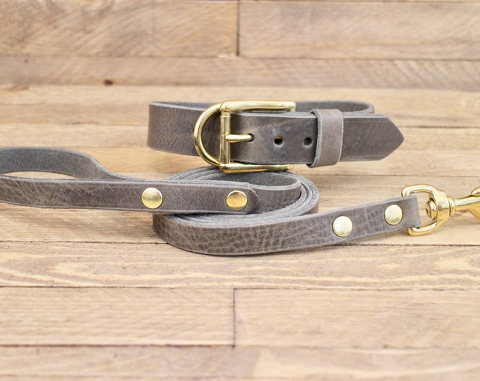 Dog collar, Dog leash, Set, Wolf grey color, Brass hardware, FREE ID TAG, Collar and leash, Handmade leather collar, Leather leash, Collar.