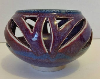 Vintage Collectible Reticulated Ceramic Candle Bowl * Artist Signed * Matching Pieces Sold Separately