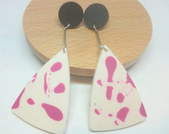 Damn cute dangles laser cut acrylic and resin earrings cream and pink
