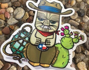 Tiki Sticker - Peanut the Cowboy