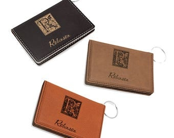 Monogrammed Rawhide ID Holder - Initial Card Holder & Key Ring - Personalized Driver's License Holder - Monogram Card Wallet - Gift for Him