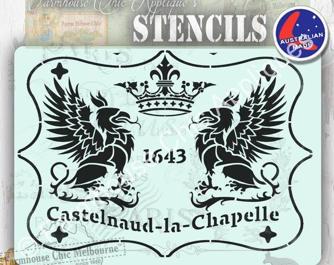 Mylar Furniture Stencil, French Castle, Chateau, French Vintage Stencil, Coat of Arms, Griffins, Castelnaud la Chapelle Pochoirs de meubles