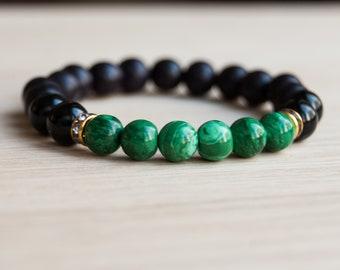 Malachite & Black Onyx Bracelet, Fire element, stimulate energy, transformation, protection, gemstone bracelet, gift for her