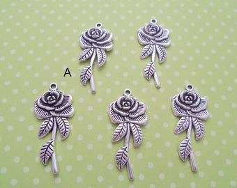 Antique Silver Long Stemmed Rose Pendant, Pack of 5 (2191)