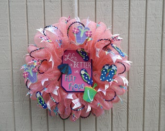 Flip Flop Wreath, Spring Mesh Wreath, Summer Mesh Wreath, Summer wreath Spring Wreath
