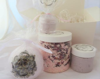 New Mom Gift Set, Spa Set, Bridesmaid Gift, Gift for Her, Bath Bomb Set, Amber, Lavender, Shower Gift Set Lip Scrub/Body Butter/Mother's Day