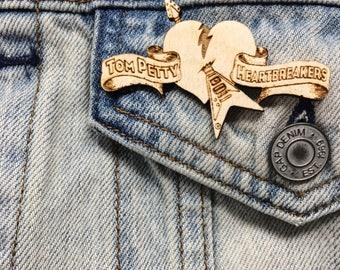 Petty Hearts Pin | Heartbreakers Wood Brooch | Petty Hearts Cute Gift