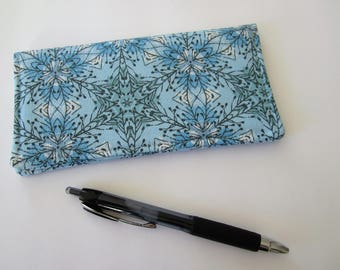 Checkbook cover, Fabric Checkbook Cover, Checkbook Holder, Blue Checkbook Cover, Gift for Coworker, Gift for Friend, Gift under 10