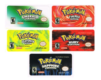 Pokemon GBA Replacement Labels Stickers Gameboy Advance Glossy Precut Emerald FireRed LeafGreen Ruby Sapphire Nintendo - Free Shipping!