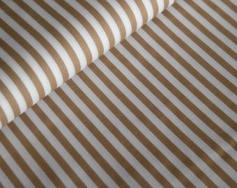 Beige cotton fabric with white stripes (5 mm)