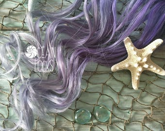 Human Hair Extensions, Clip In Hair, Pastel Hair, Ombre Hair, Silver Hair, Lavender Hair, Purple Hair, Periwinkle Hair, Ocean Locks Hair
