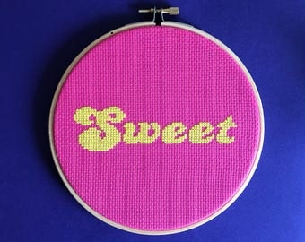 Sweet cross stitch pattern - diy gift - instant download pdf pattern - fun sexy gift - funky retro 70's chart - food lovers gift - pdf chart
