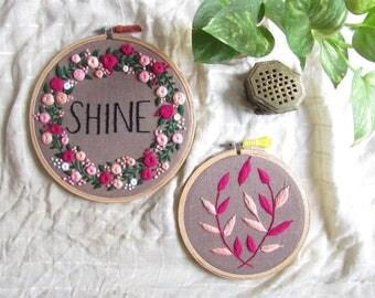 Shine embroidered hoop set
