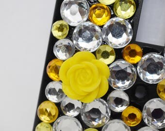 Black Bling Yellow/Clear Rhinestone Flower Standard Size Light Switch Plate Cover