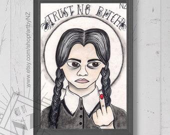 Wednesday Art print // Wednesday Addams gift // Wednesday Addams Art print // trust no one quote // goth art print // The Addams family