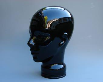 Seventies vintage design glass head statue , blue display head