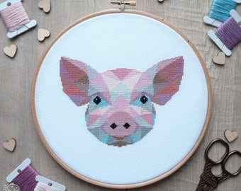 Pig Cross Stitch Pattern, Piglet Cross Stitch Chart, Geometric Cross Stitch, Pig Embroidery, Handmade Gifts, Cute Crafts, Instant Download