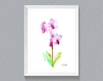 Printable Art Watercolor Orchid  Flower Wall  Art, Orchid  Poster  Orchid  Print Floral Print Art.  Pink Orchid  Painting Instant download.