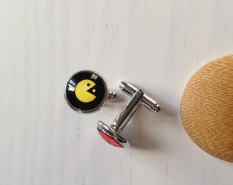 Space Invaders of Pac Man inspired cufflink