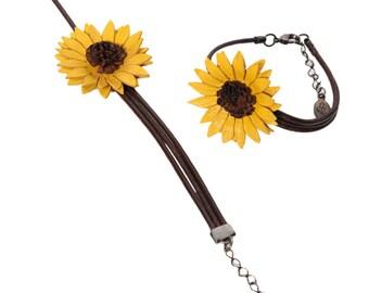 Sunflower quirky asymmetrical leather flower bracelet