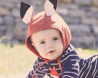 Baby Fox Bonnet || Fox Bonnet || Baby Bonnet || Woodland Bonnet || Bonnet for Baby || Baby Hat || Newborn Bonnet || Animal Bonnet
