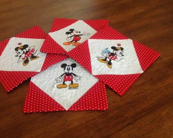 Minnie and Mickey Mouse Coffee Mug Rugs, Set of 4