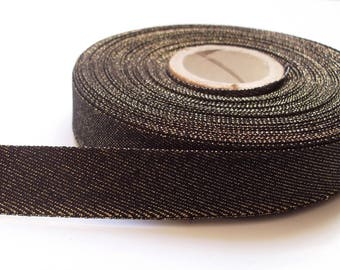 Black gold lame Ribbon 16 mm Ribbon / premium quality