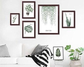 Botanical boho/minimalist/scandinavian leaf print wall decor set.