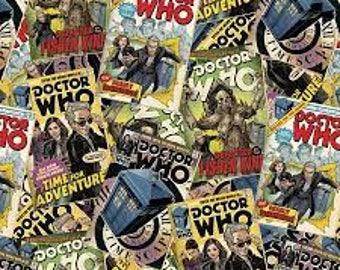 "Doctor Who Comic Book Toss by Springs Creative fabric, 43"" wide, 100% cotton, by the half yard, dr who fabric, tv fabric, character fabric"