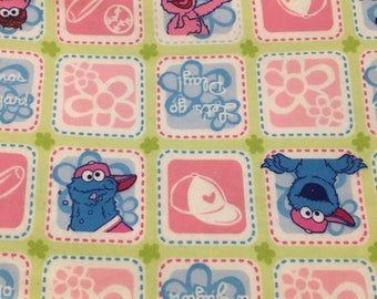 "Spanish/English Elmo and Cookie monster Let's Play/Vamos a Jugar flannel fabric, By the Half Yard, 42"" wide, 100% cotton"