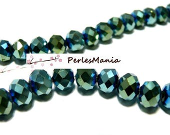 20 faceted beads rondelles green blue 6 by 8mm ref 2J1414