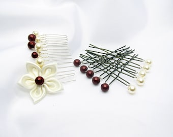 Comb and satin flower wedding pics and the swarovski crystal pearls, hair, Bridal hair accessory