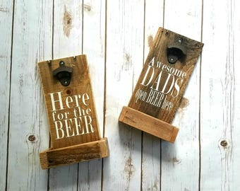 Wall Mounted Bottle Opener,  Beer Cap Catcher,  Rustic Beer Decor, Father's Day Beer Gift
