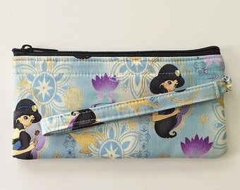 20% OFF SALE Princess Jasmine Wristlet // Ready To Ship // Clutch // Disney Wallet