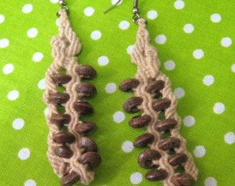 Earrings macrame, long macrame earrings, Earrings wooden beads, Earrings woven, Beige earrings, Jewelry makrame, large earrings, Earrings