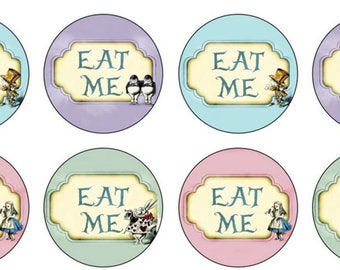 EDIBLE Eat Me Alice in Wonderland Wafer Cupcake Toppers