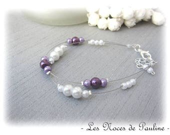 Purple and white wedding Katell 2 rows bracelet