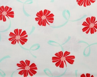 """Moda """"Hello Darling"""" by Bonnie and Camille ~ FLOWERS & RIBBONS ~ Aqua Red 55116 14 ~ Half Yard Increments"""